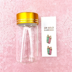22K Gold Plated Colored Pencil (Pink/Mint) - Earring