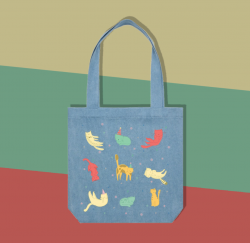 Cat Party - Denim - Tote Bag