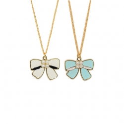 Pearl Bow Enamel - Necklace