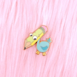 Wonderland Pencil Bird - Enamel Pin