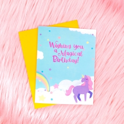 Unicorn Cloud Birthday - Card